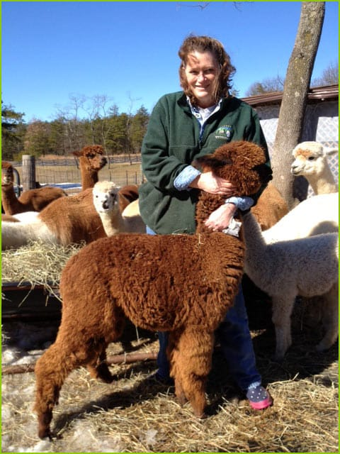 Kathy Brown with Alpaca